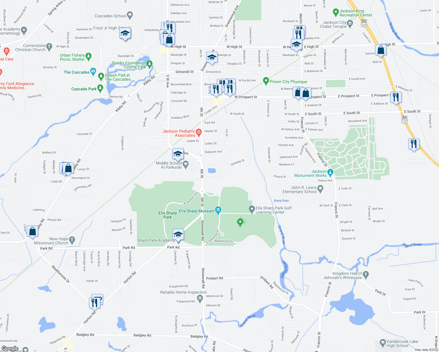 map of restaurants, bars, coffee shops, grocery stores, and more near 2700 East Alpine Lake Drive in Jackson