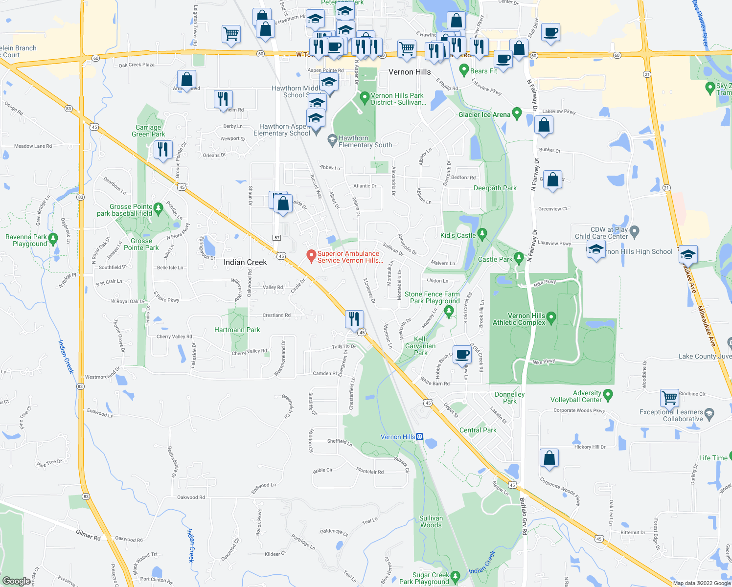 map of restaurants, bars, coffee shops, grocery stores, and more near 42 Monterey Drive in Vernon Hills