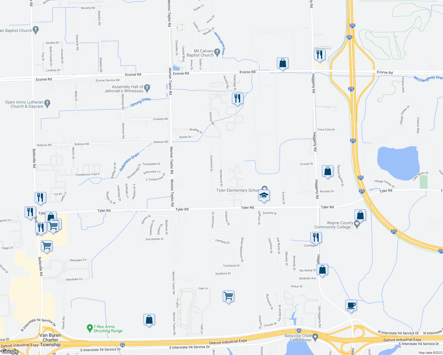map of restaurants, bars, coffee shops, grocery stores, and more near 8767 Hardwood Drive in Belleville