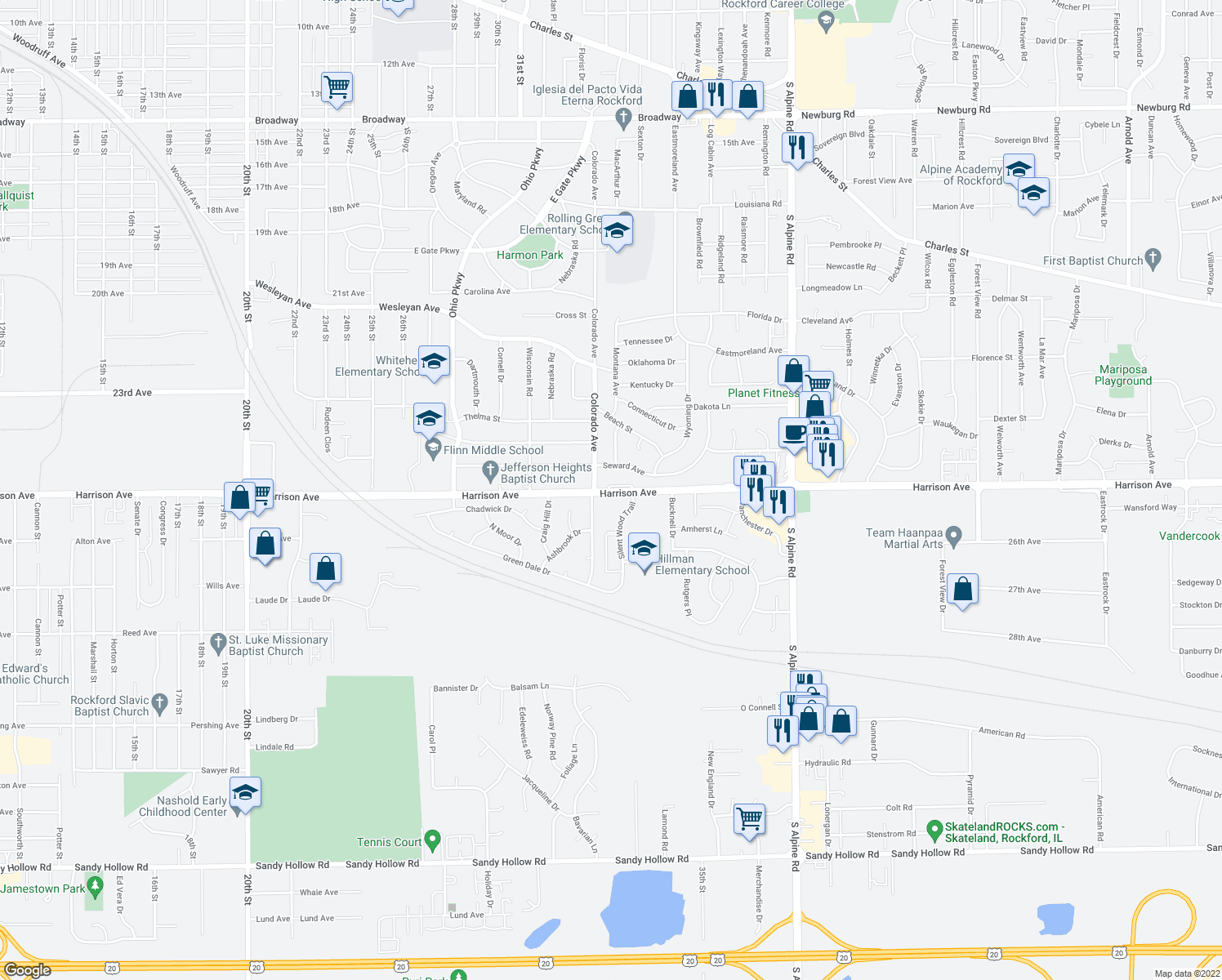 map of restaurants, bars, coffee shops, grocery stores, and more near 3618 Harrison Avenue in Rockford