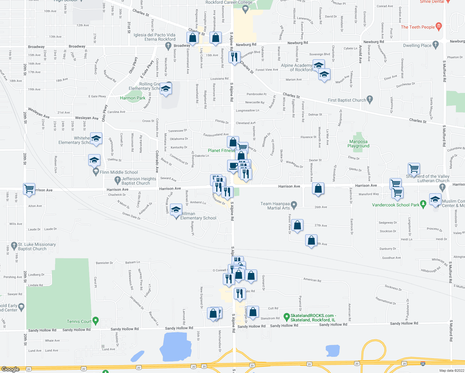 map of restaurants, bars, coffee shops, grocery stores, and more near Harrison Ave & S Alpine Rd in Rockford