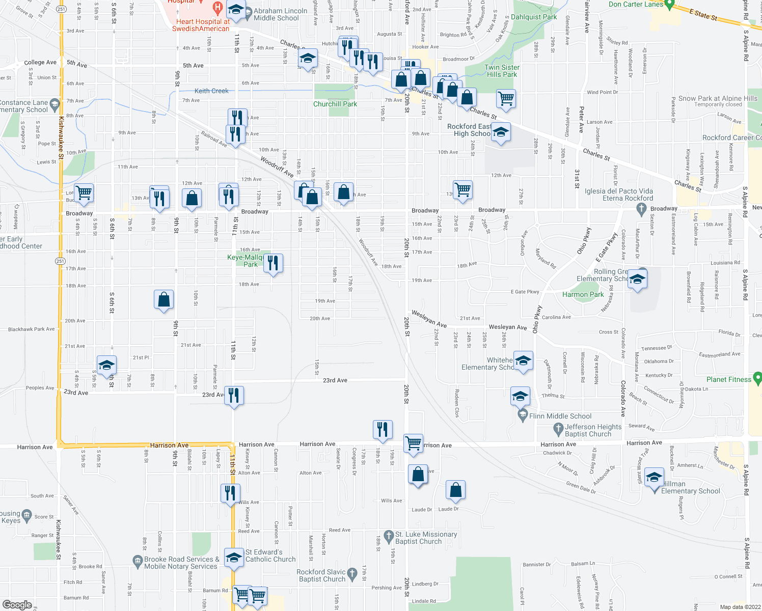 map of restaurants, bars, coffee shops, grocery stores, and more near 2257 19th Avenue in Rockford