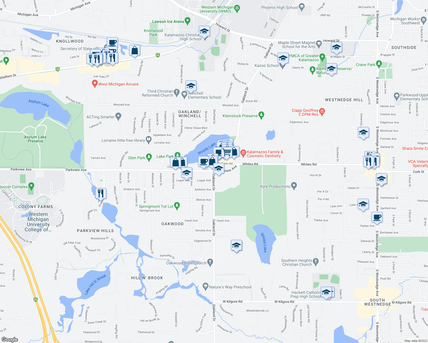 map of restaurants, bars, coffee shops, grocery stores, and more near 3215 Oakland Drive in Kalamazoo