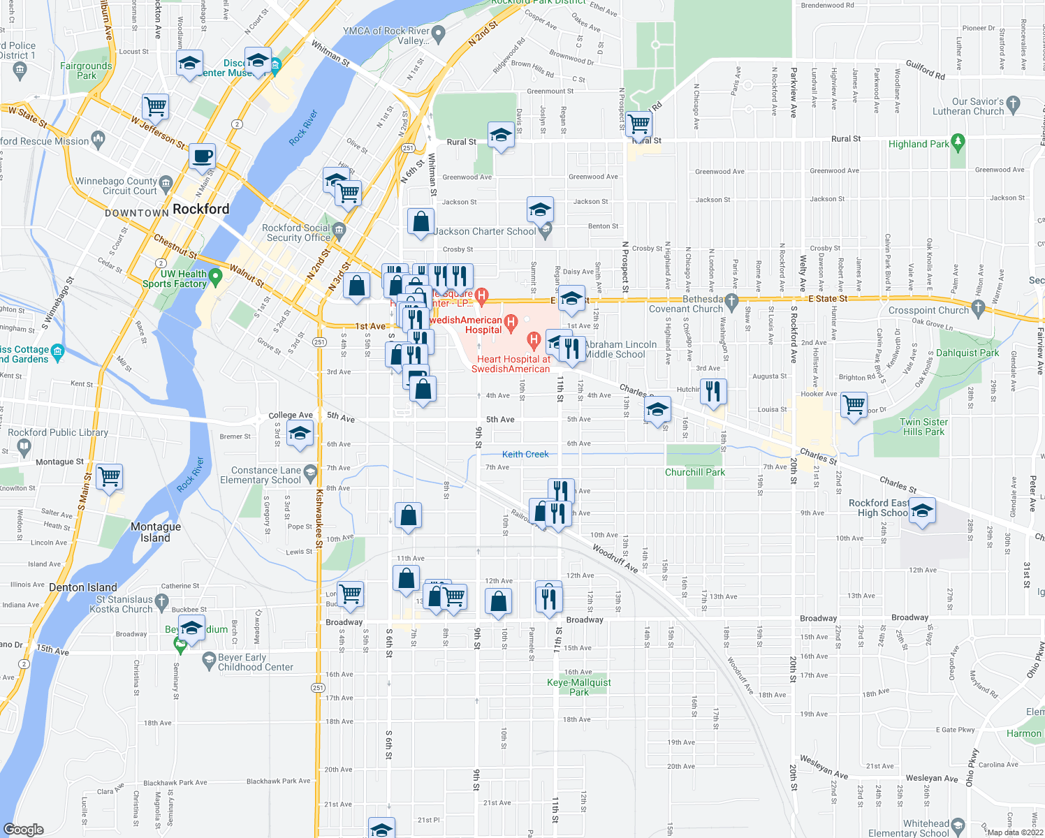 map of restaurants, bars, coffee shops, grocery stores, and more near 5th Ave & 10th St in Rockford