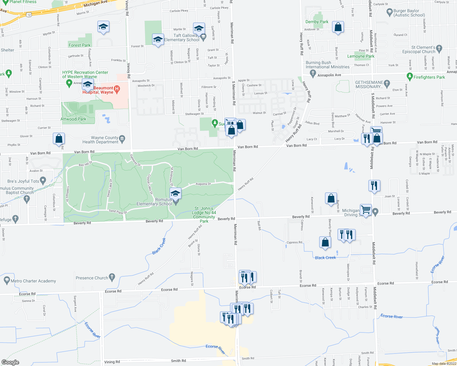 map of restaurants, bars, coffee shops, grocery stores, and more near 31433 Augusta Drive in Romulus
