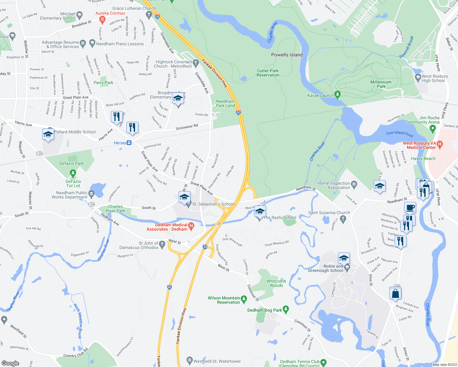 map of restaurants, bars, coffee shops, grocery stores, and more near Valley Rd in Needham