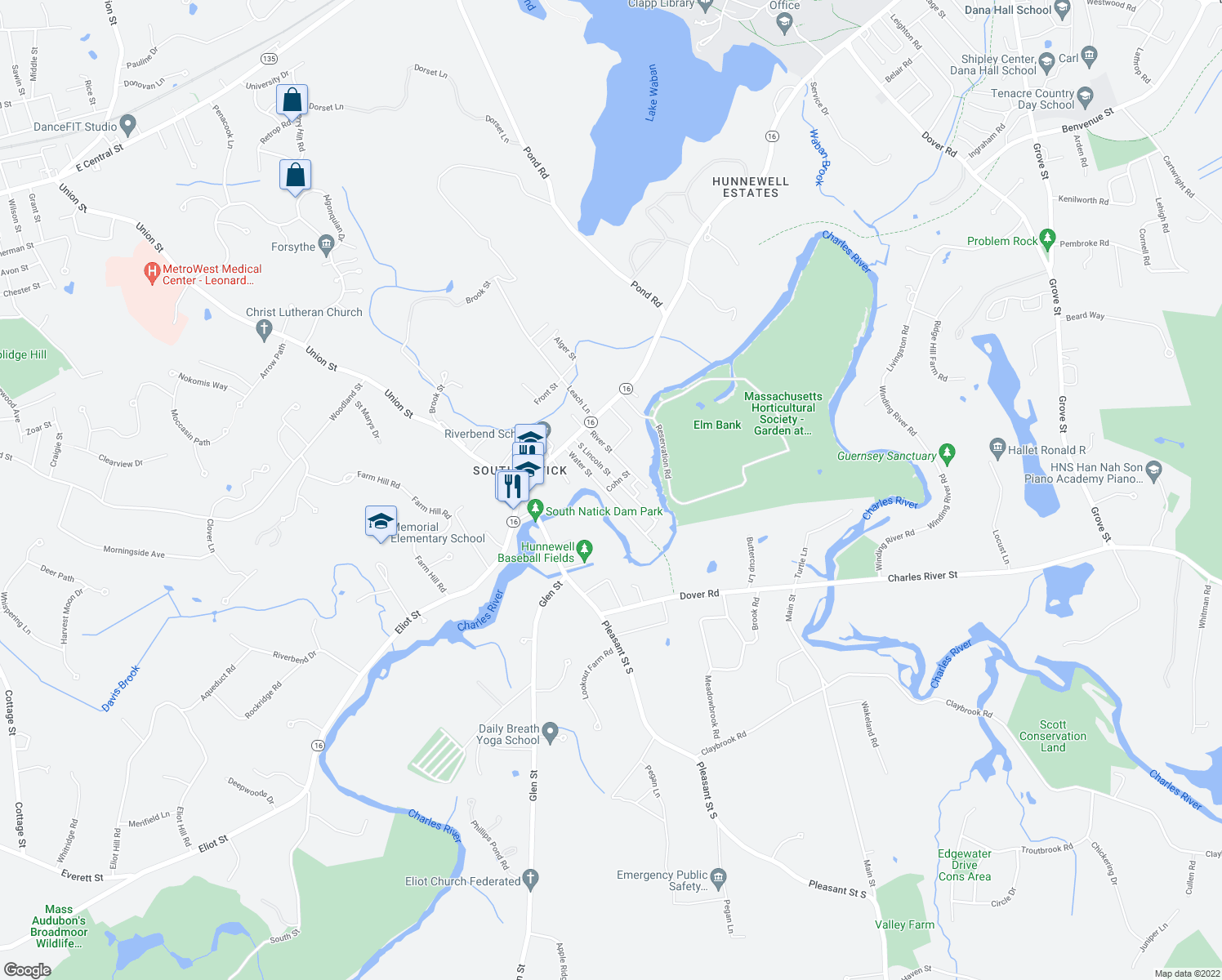 map of restaurants, bars, coffee shops, grocery stores, and more near 22 Water Street in Natick