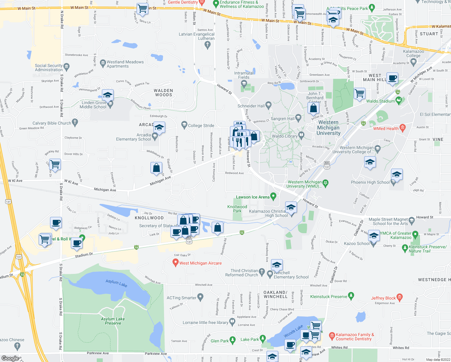 map of restaurants, bars, coffee shops, grocery stores, and more near 1323 Greenwood Avenue in Kalamazoo Township