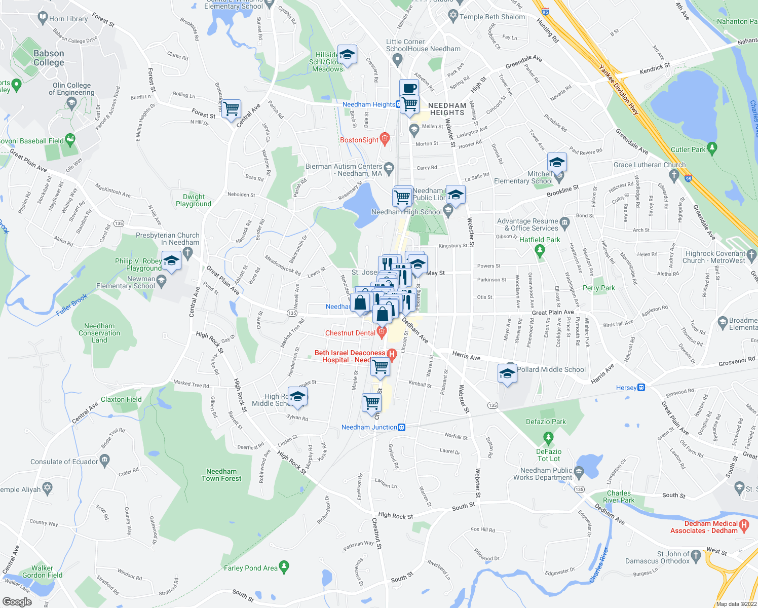 map of restaurants, bars, coffee shops, grocery stores, and more near in Needham