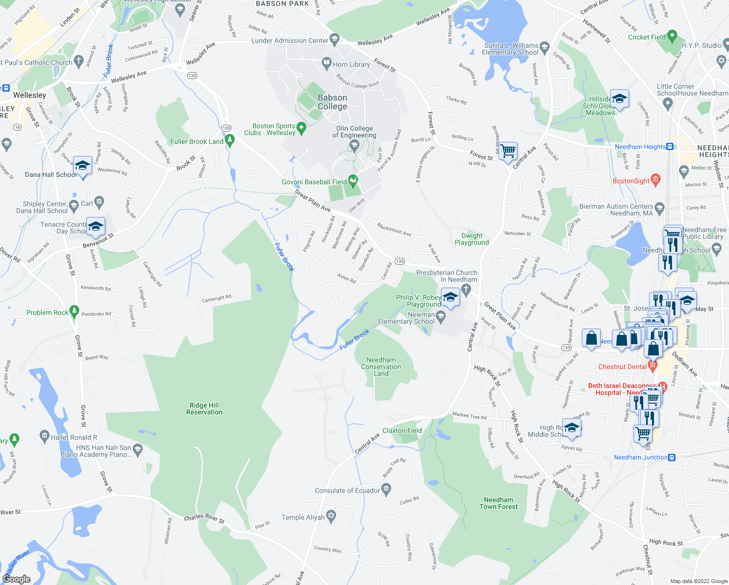map of restaurants, bars, coffee shops, grocery stores, and more near 68 Brewster Drive in Needham