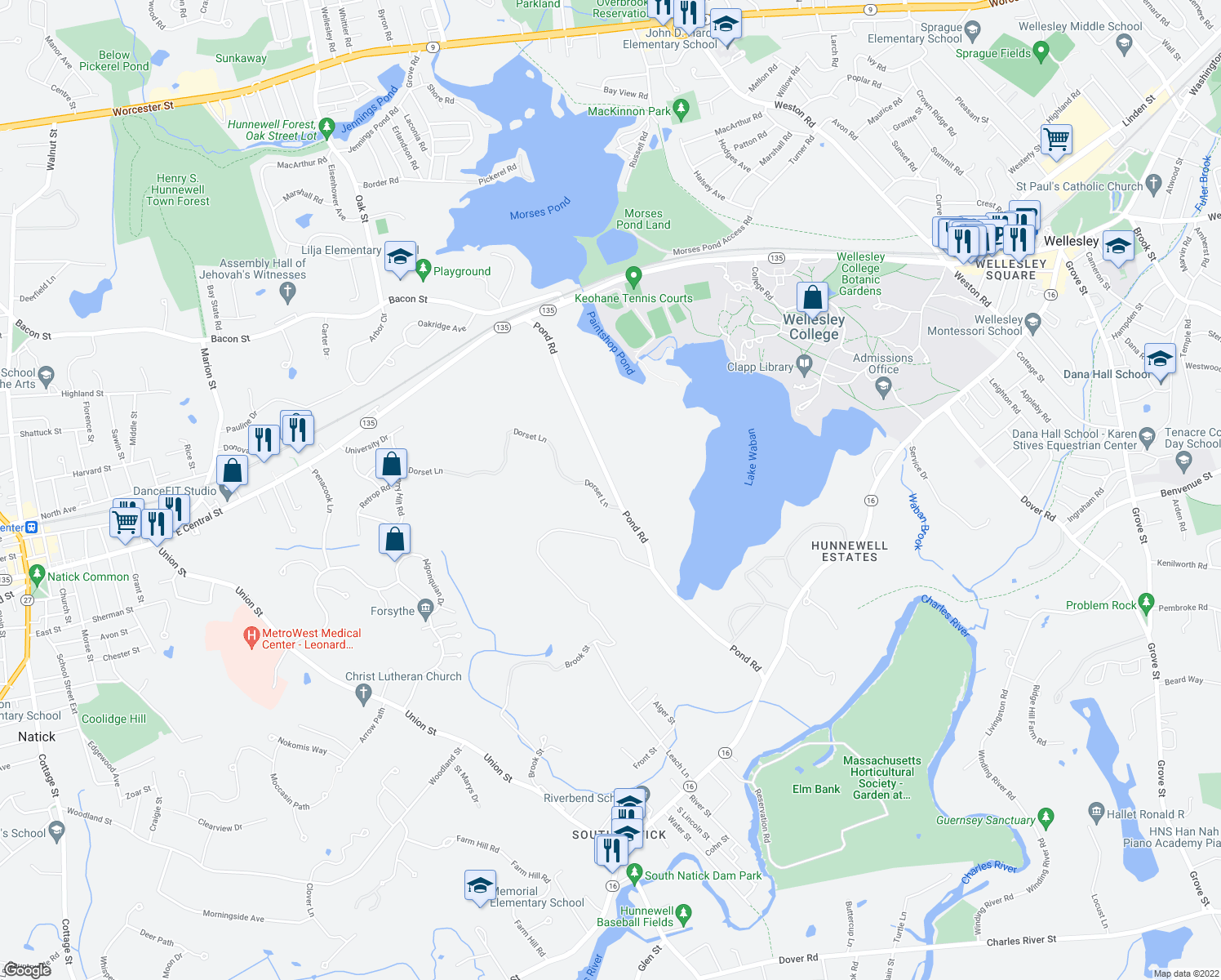 map of restaurants, bars, coffee shops, grocery stores, and more near 200 Pond Road in Wellesley