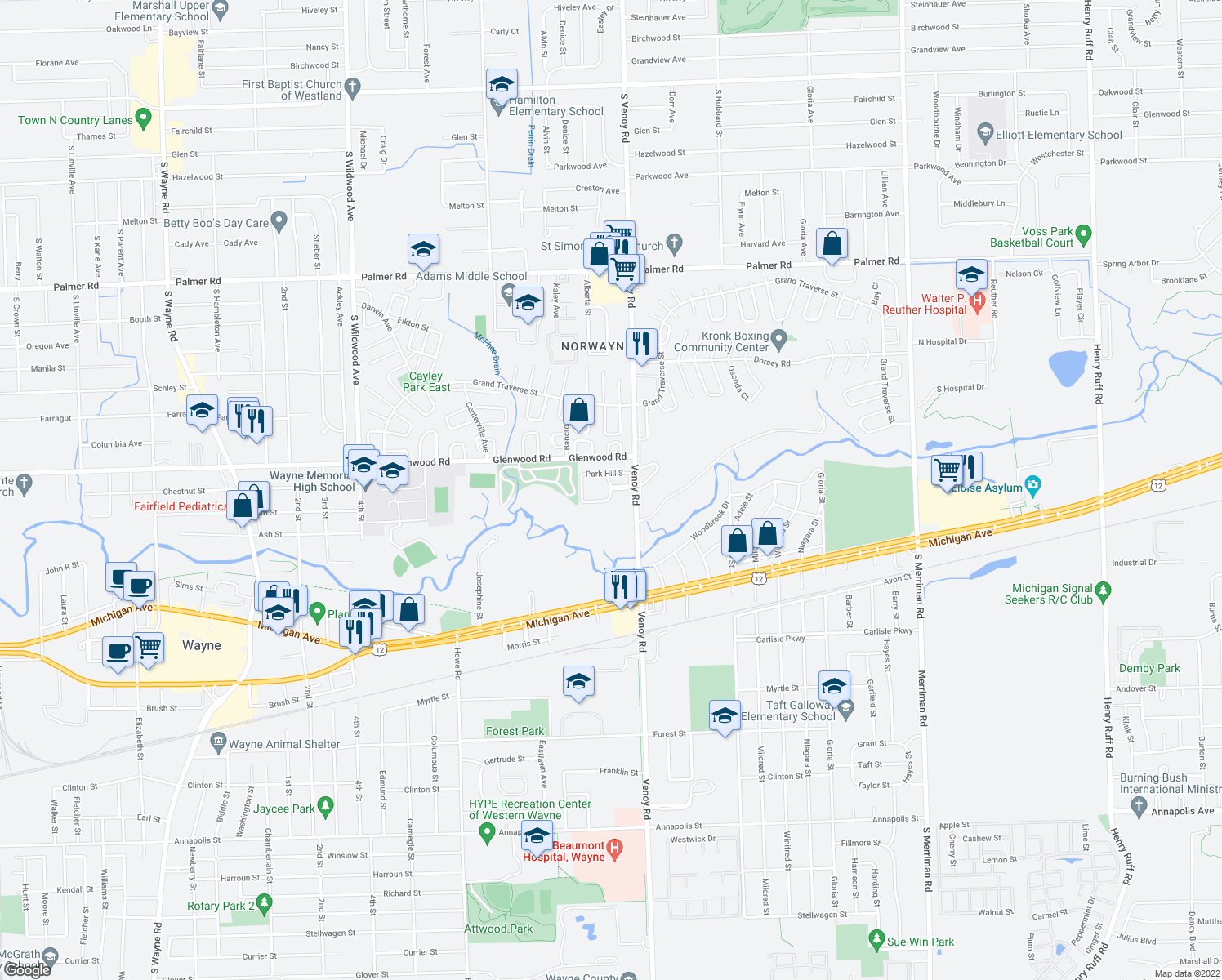 map of restaurants, bars, coffee shops, grocery stores, and more near 33000 Park Hill South in Wayne