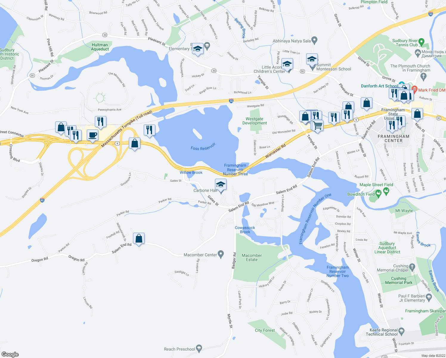 map of restaurants, bars, coffee shops, grocery stores, and more near 1500 Worcester Road in Framingham