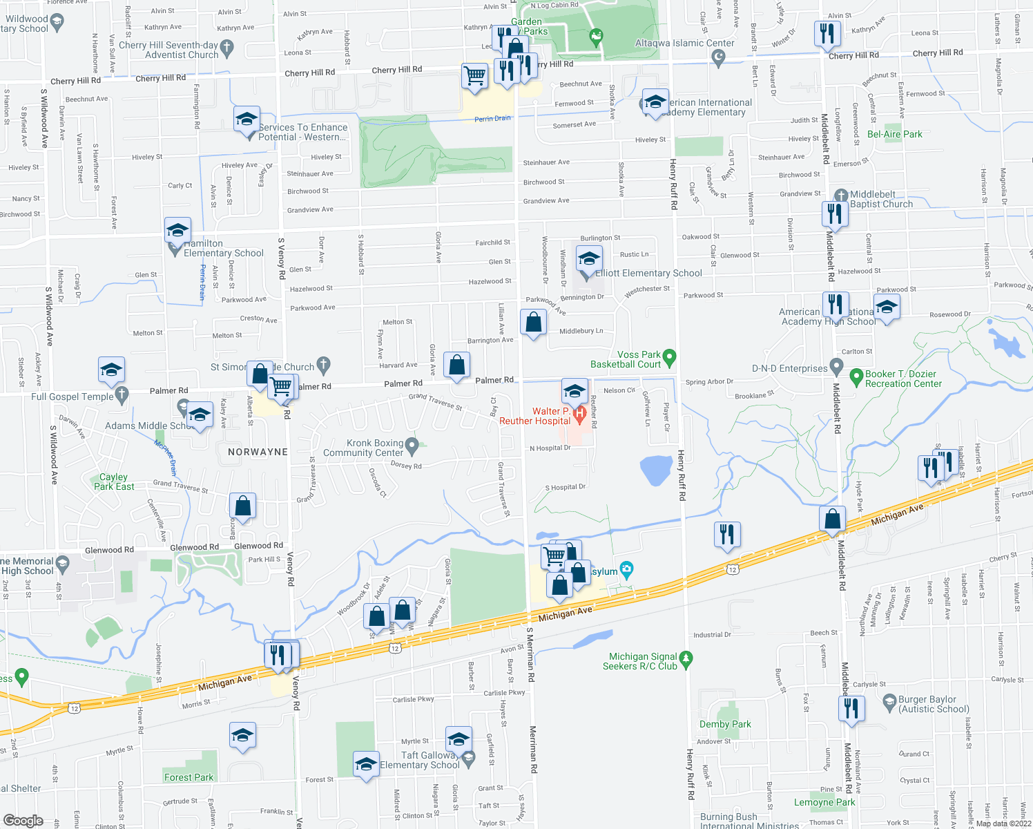 map of restaurants, bars, coffee shops, grocery stores, and more near 31816 Bay Court in Westland