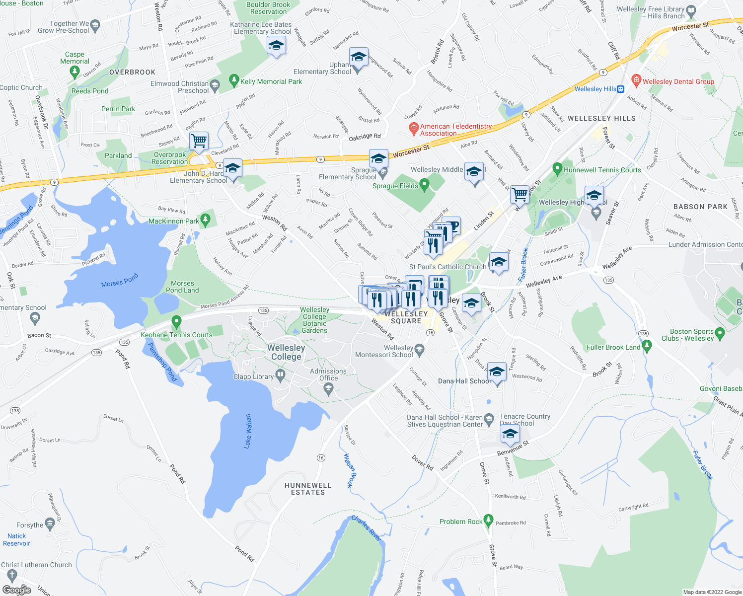 map of restaurants, bars, coffee shops, grocery stores, and more near 37 Linden Street in Wellesley