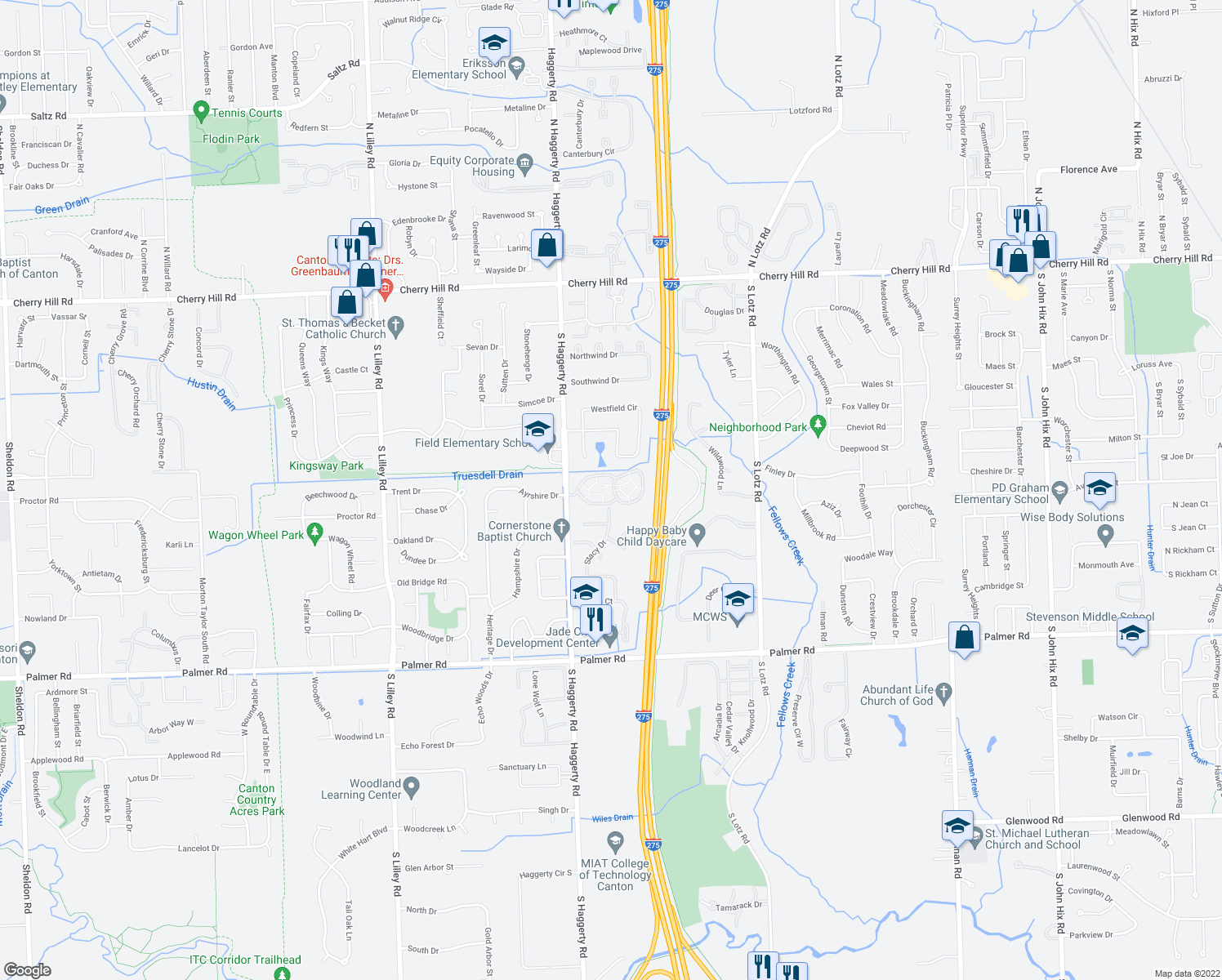 map of restaurants, bars, coffee shops, grocery stores, and more near 41265 Crossbow Circle in Canton