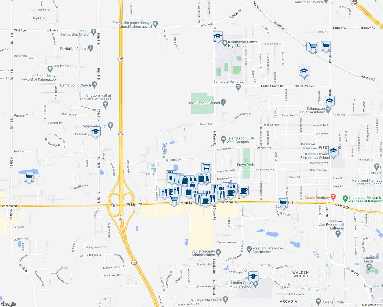 map of restaurants, bars, coffee shops, grocery stores, and more near 5200 Croyden Dr in Kalamazoo