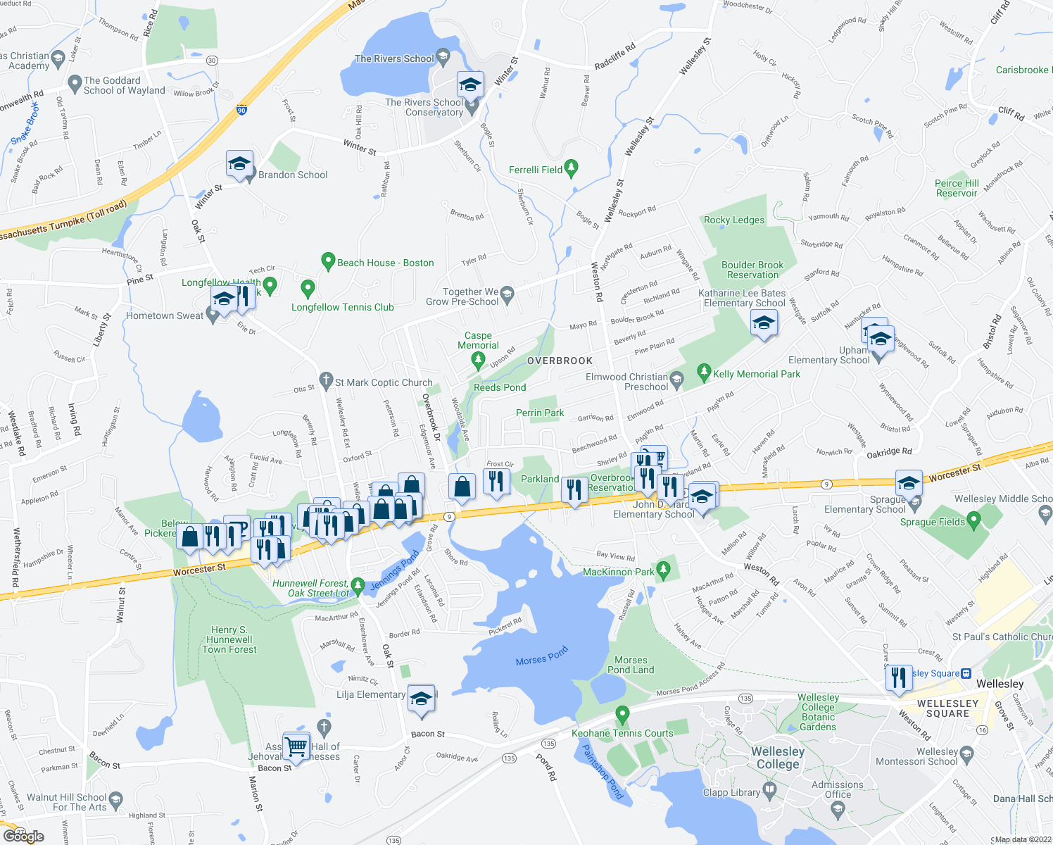 map of restaurants, bars, coffee shops, grocery stores, and more near 15 Leewood Road in Wellesley