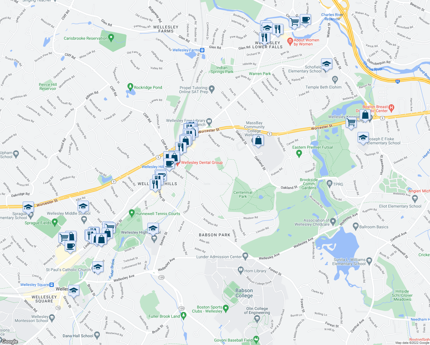map of restaurants, bars, coffee shops, grocery stores, and more near 54 Maugus Avenue in Wellesley
