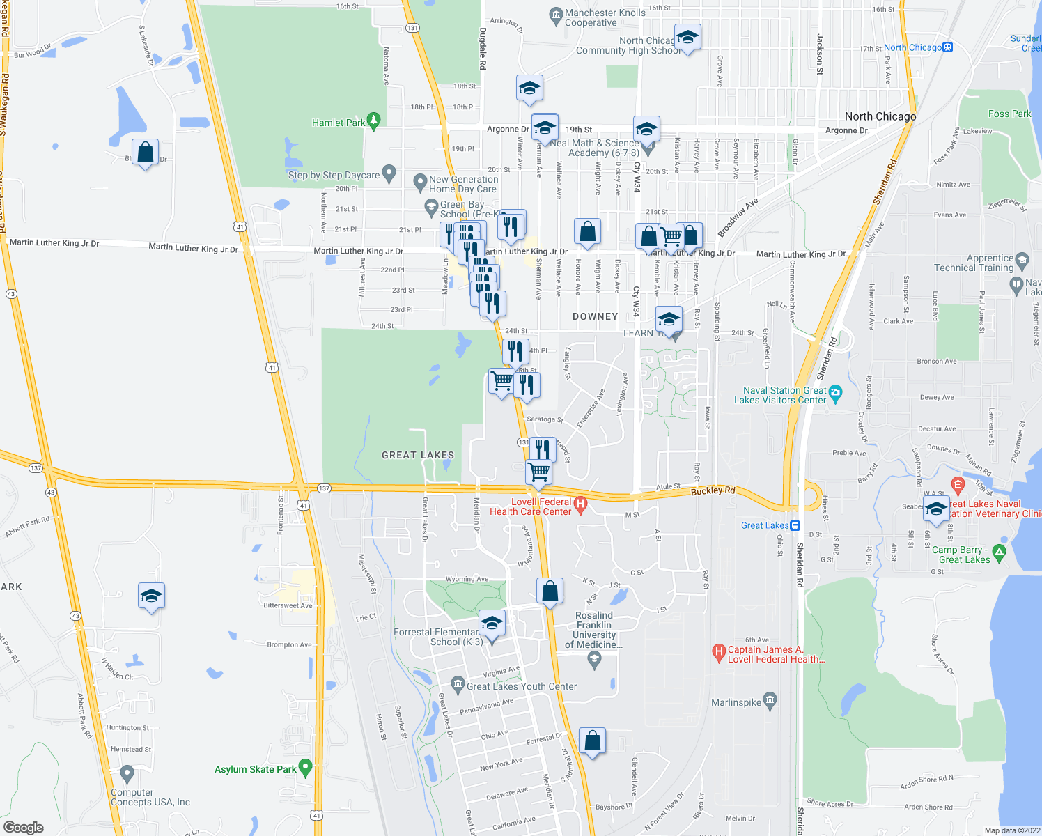 map of restaurants, bars, coffee shops, grocery stores, and more near Saratoga Street in North Chicago