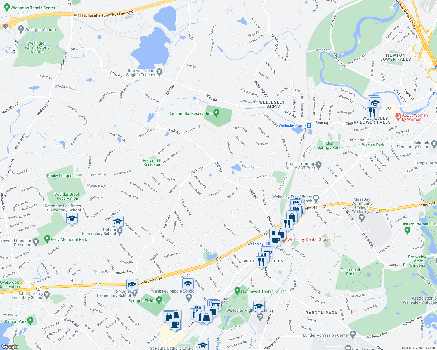 map of restaurants, bars, coffee shops, grocery stores, and more near 128 Cliff Road in Wellesley