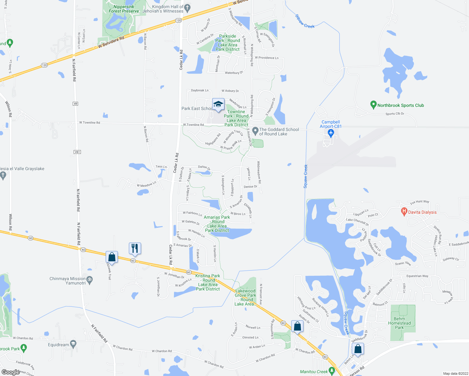 map of restaurants, bars, coffee shops, grocery stores, and more near 1439 South Bayport Lane in Round Lake