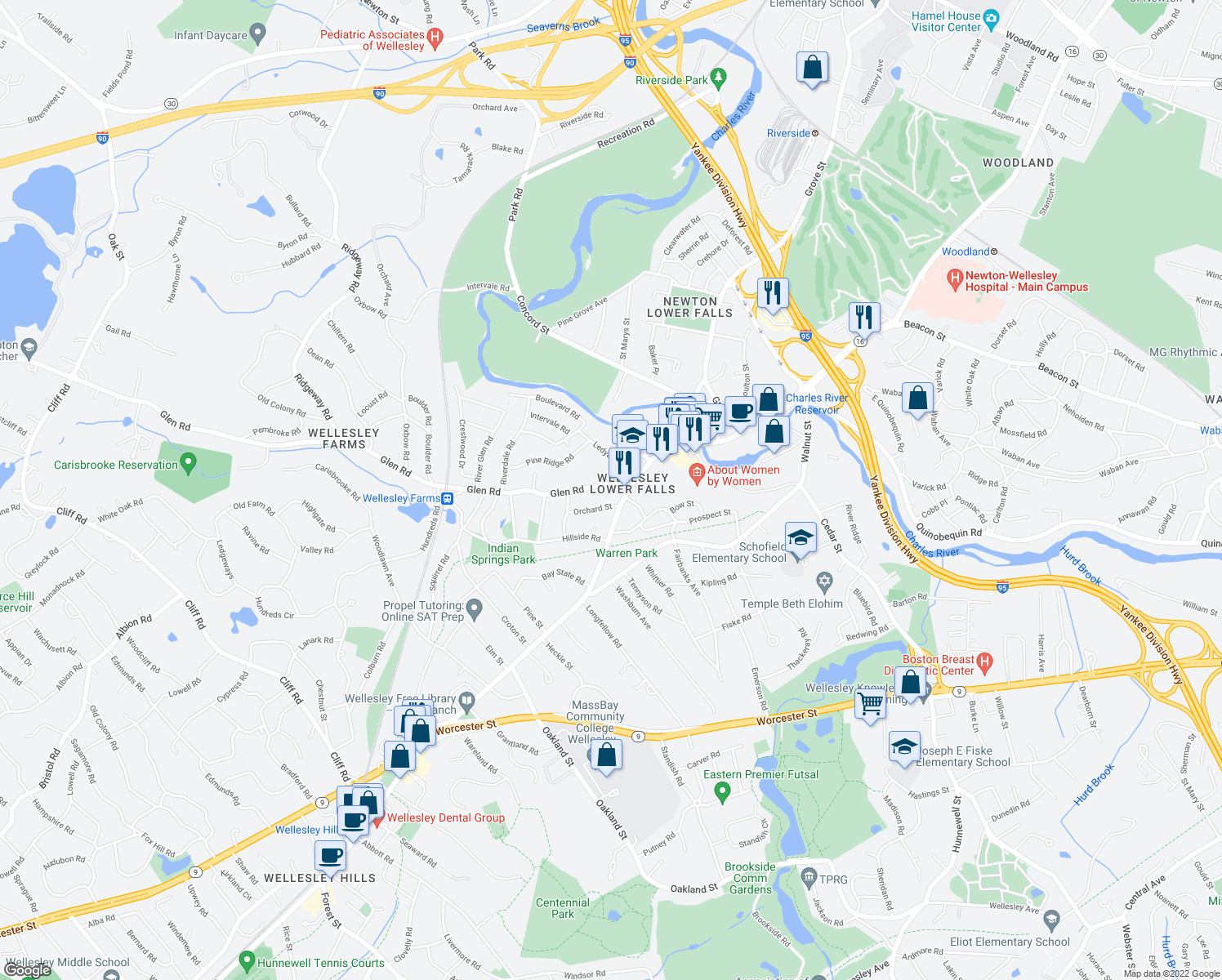 map of restaurants, bars, coffee shops, grocery stores, and more near 12 Glen Road in Wellesley