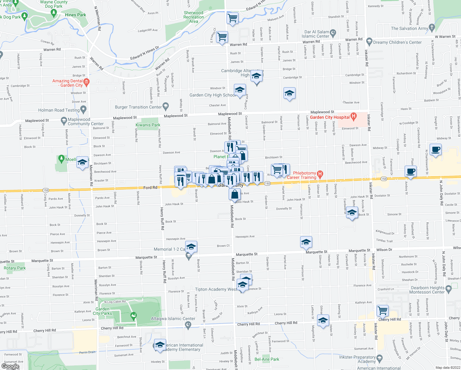 map of restaurants, bars, coffee shops, grocery stores, and more near in Garden City