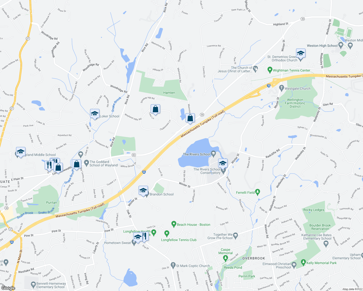 map of restaurants, bars, coffee shops, grocery stores, and more near 26 Indian Ridge Rd in Natick