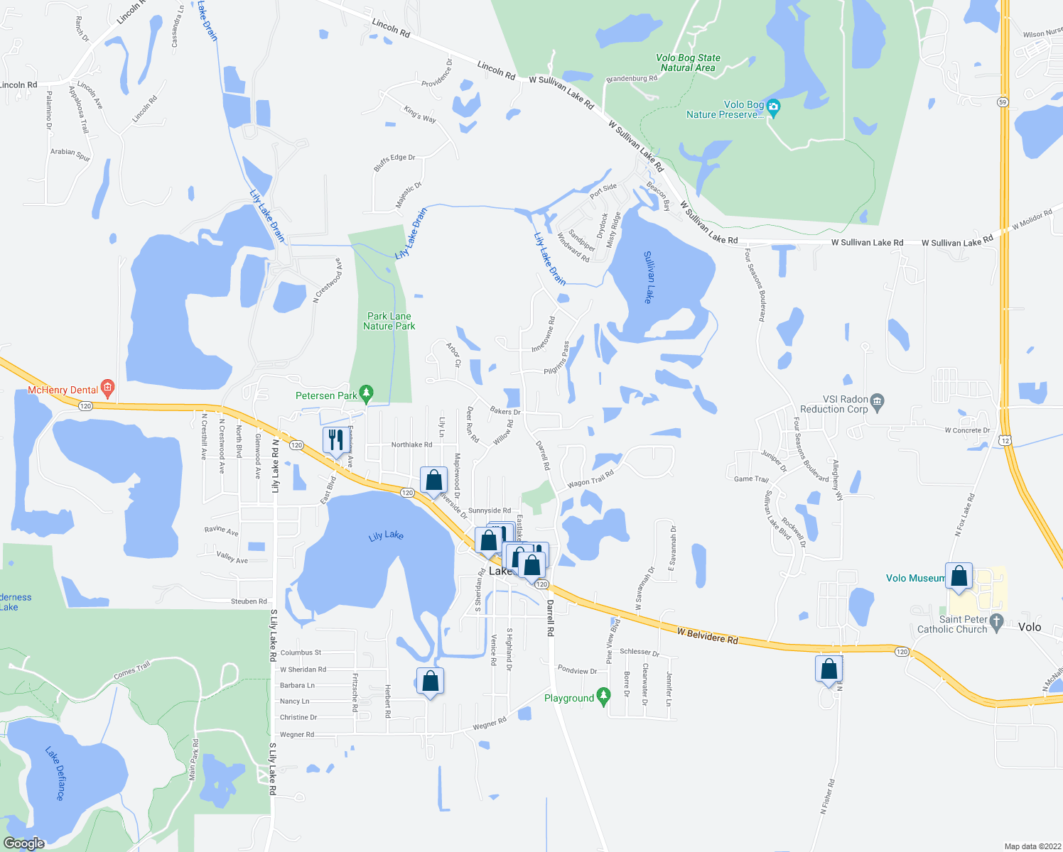 map of restaurants, bars, coffee shops, grocery stores, and more near 28912 Sawmill Lane in Lakemoor
