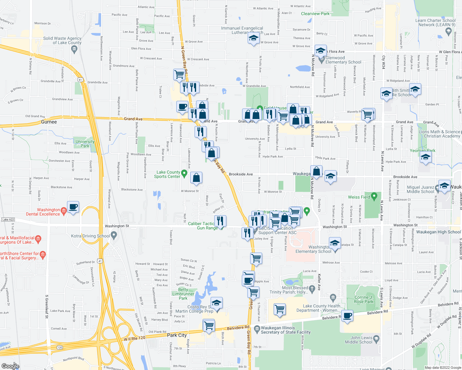map of restaurants, bars, coffee shops, grocery stores, and more near 206 North Green Bay Road in Waukegan