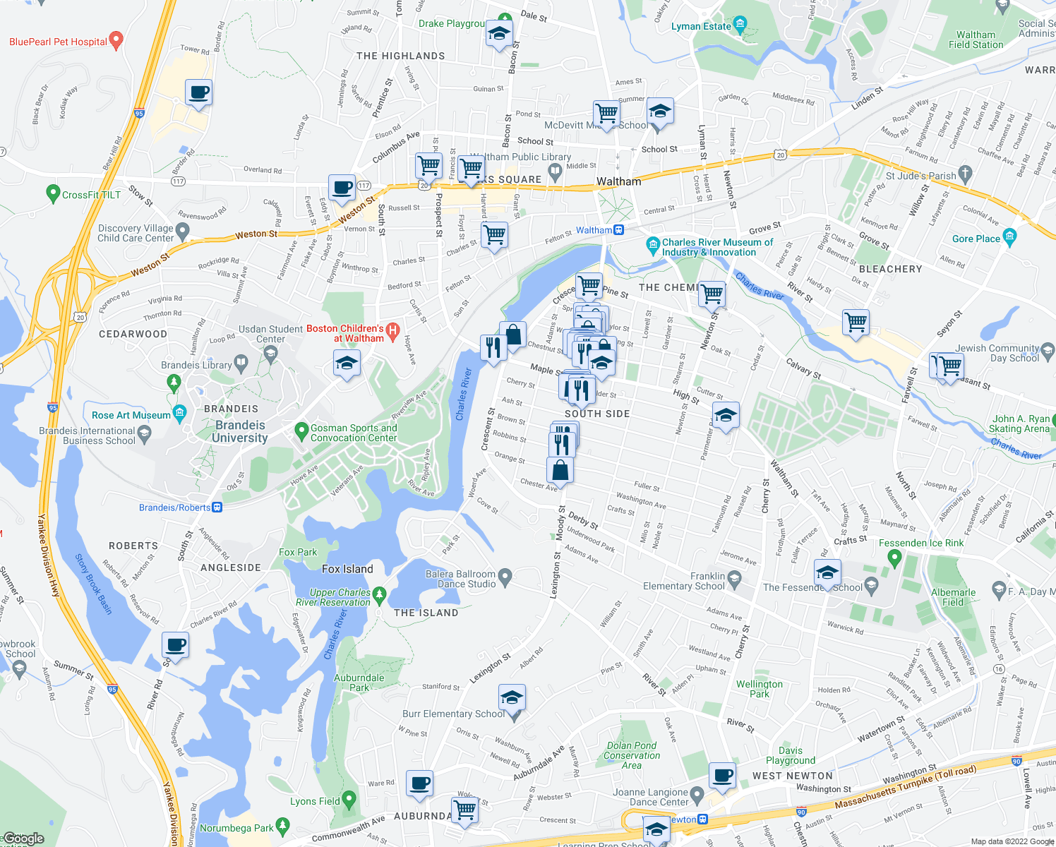 map of restaurants, bars, coffee shops, grocery stores, and more near Adams St & Brown St in Waltham