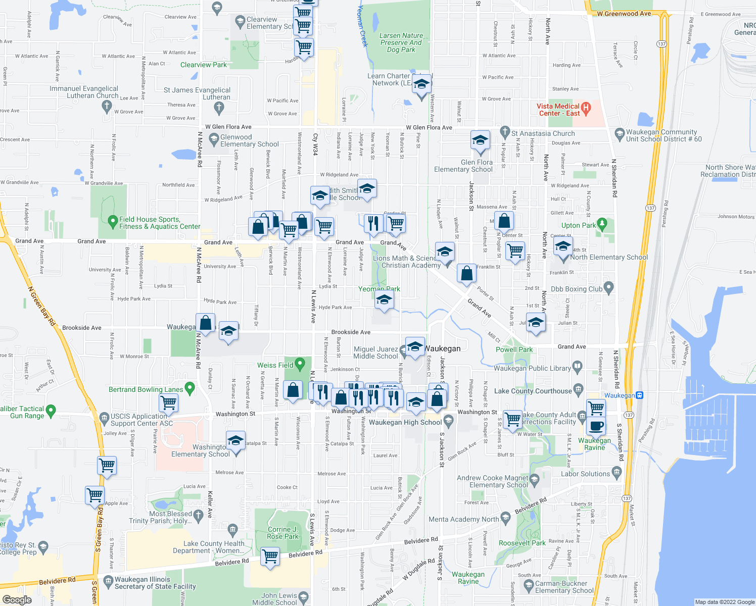 map of restaurants, bars, coffee shops, grocery stores, and more near 1516 Hyde Park Avenue in Waukegan
