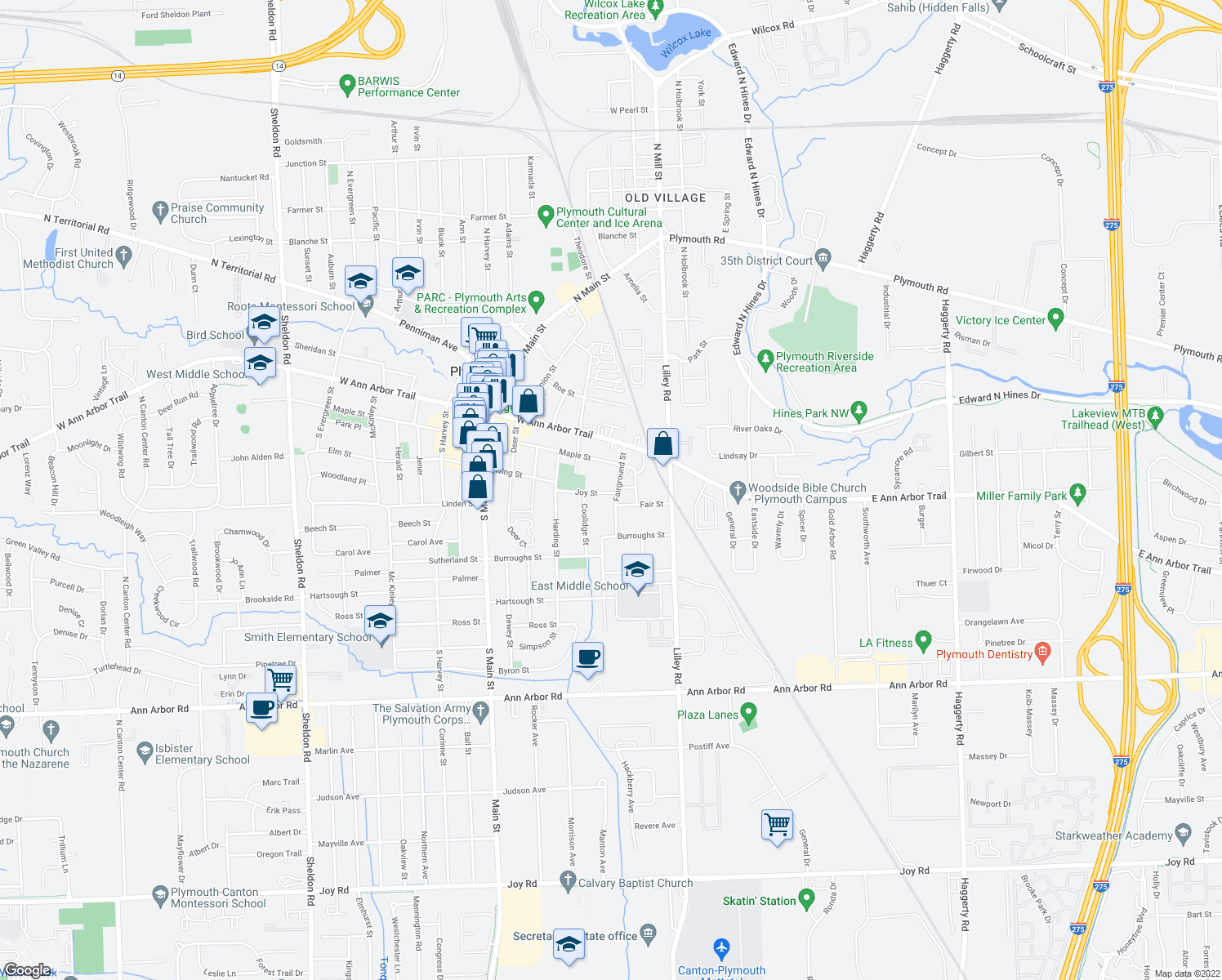 map of restaurants, bars, coffee shops, grocery stores, and more near 676 Fairground Street in Plymouth