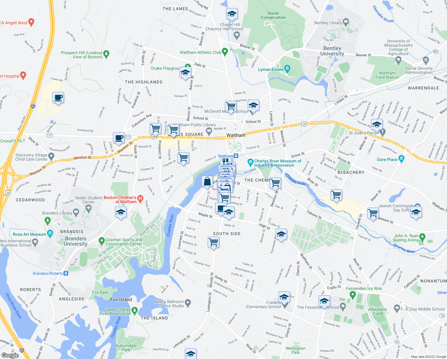 map of restaurants, bars, coffee shops, grocery stores, and more near 25 Crescent Street in Waltham
