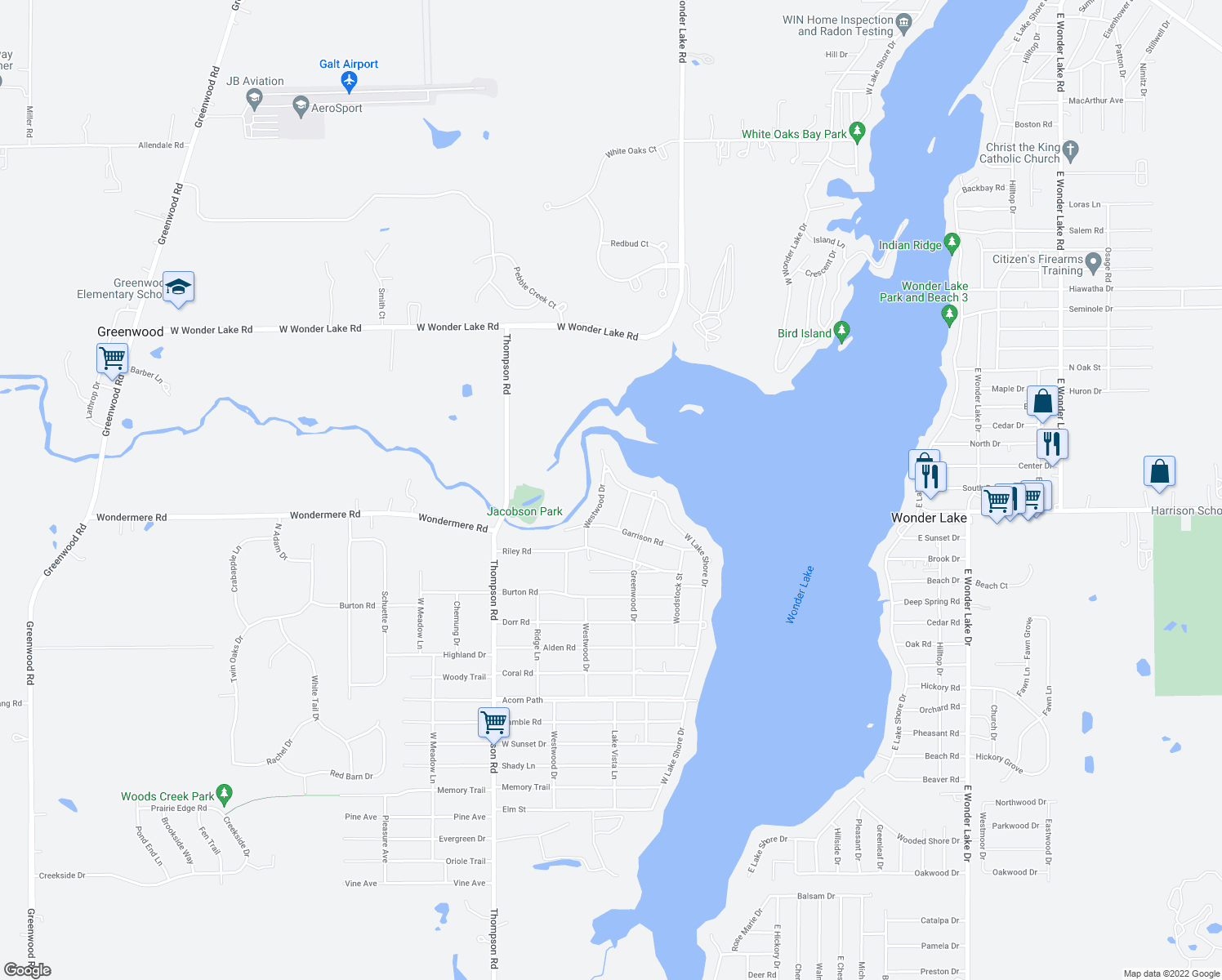 map of restaurants, bars, coffee shops, grocery stores, and more near 4110 Westwood Drive in Wonder Lake