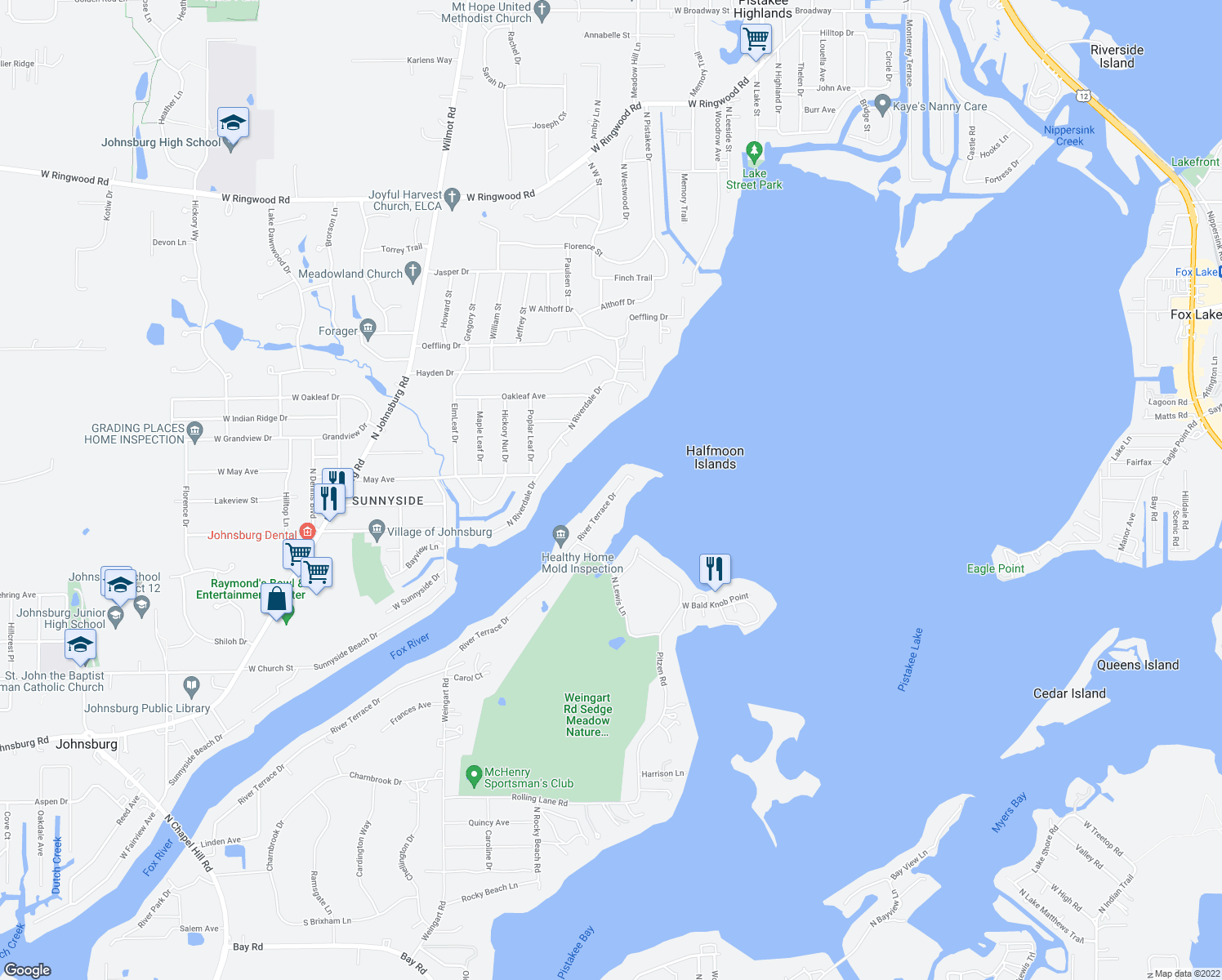 map of restaurants, bars, coffee shops, grocery stores, and more near 810 River Terrace Drive in Johnsburg