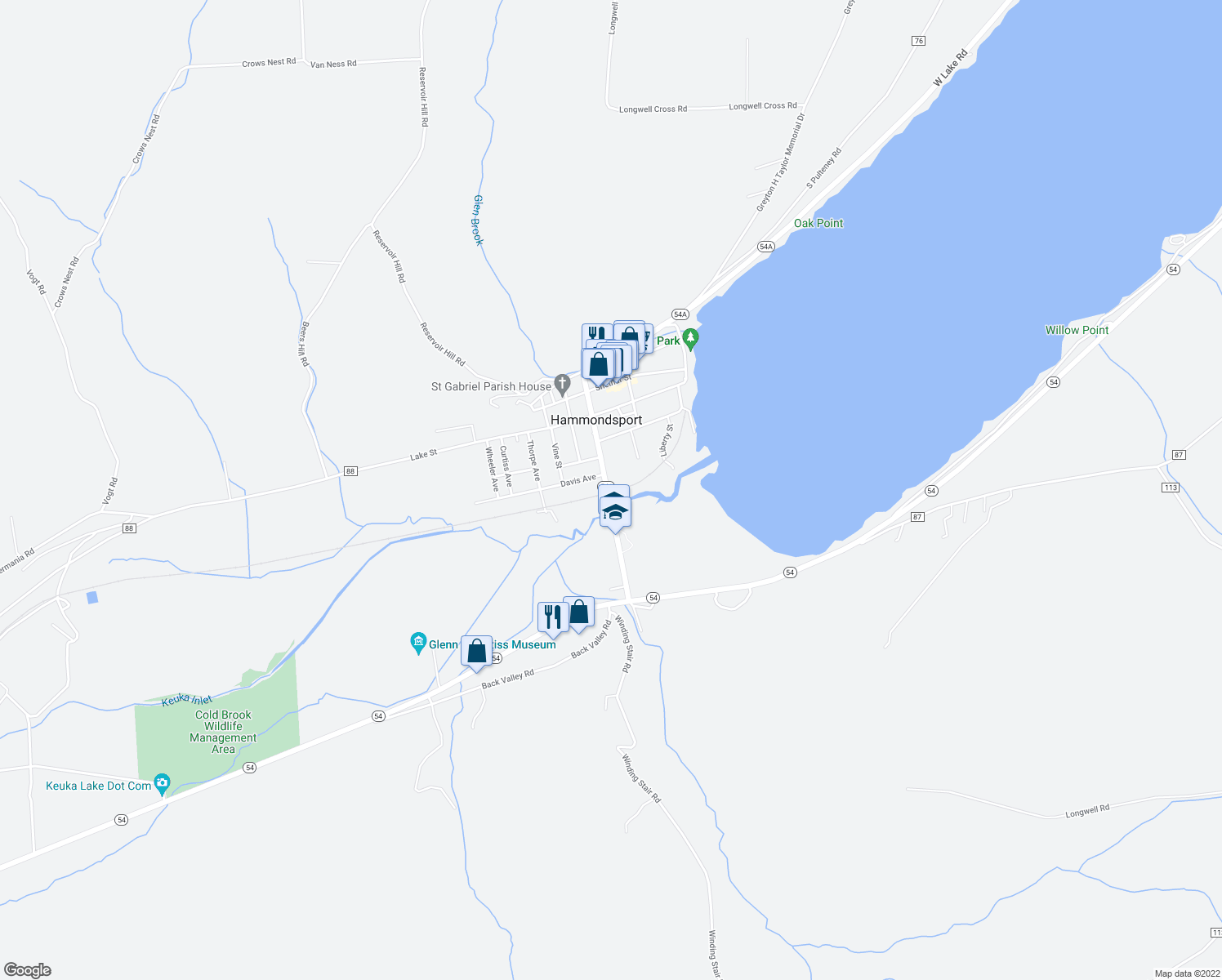 map of restaurants, bars, coffee shops, grocery stores, and more near 12 Main Street in Hammondsport