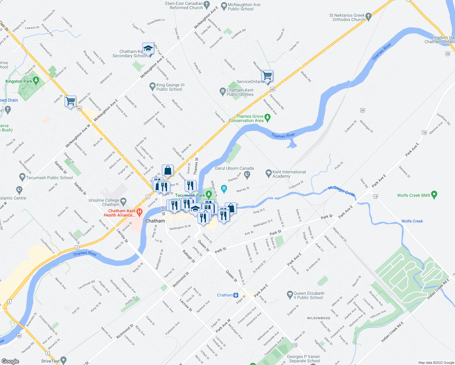 map of restaurants, bars, coffee shops, grocery stores, and more near 42 Stanley Avenue in Chatham-Kent