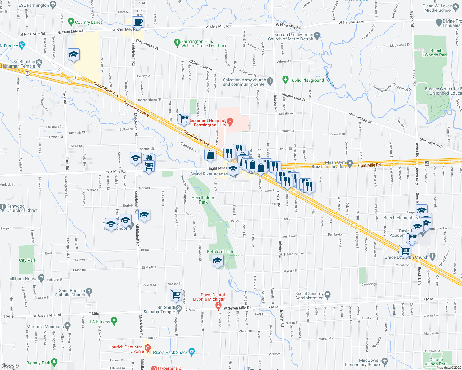 map of restaurants, bars, coffee shops, grocery stores, and more near 20363 Floral Street in Livonia