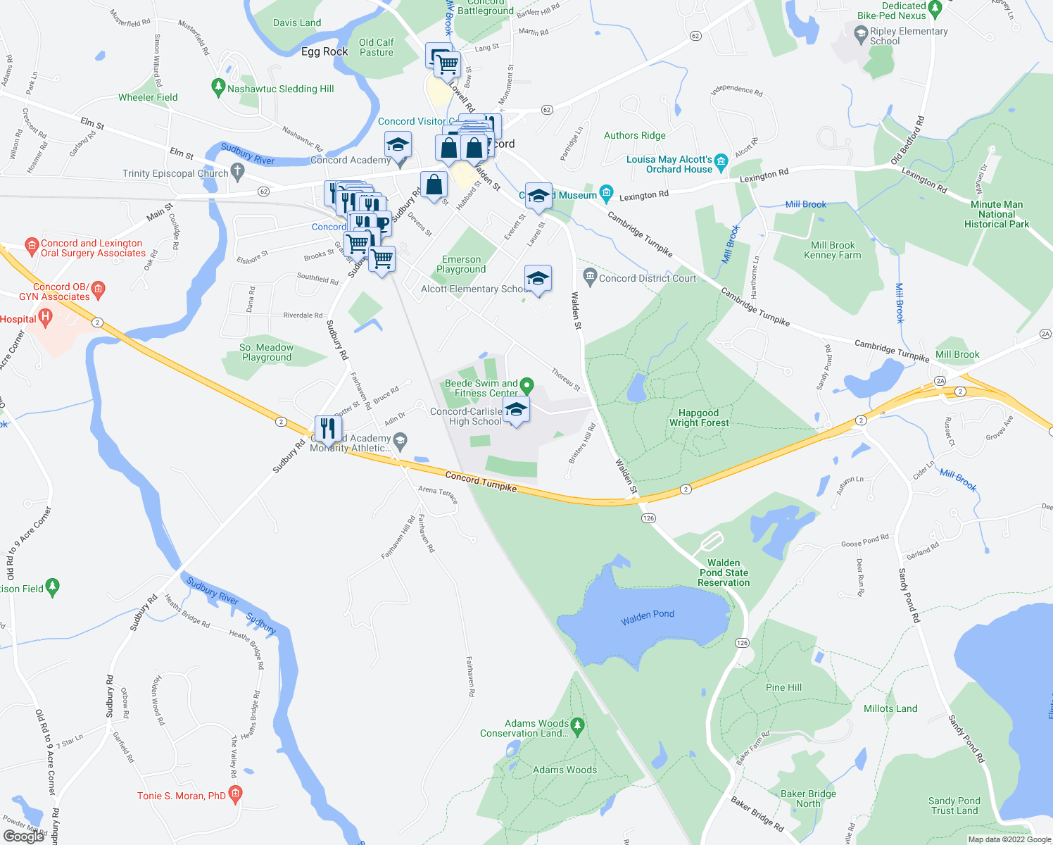 map of restaurants, bars, coffee shops, grocery stores, and more near 500 Walden Street in Concord