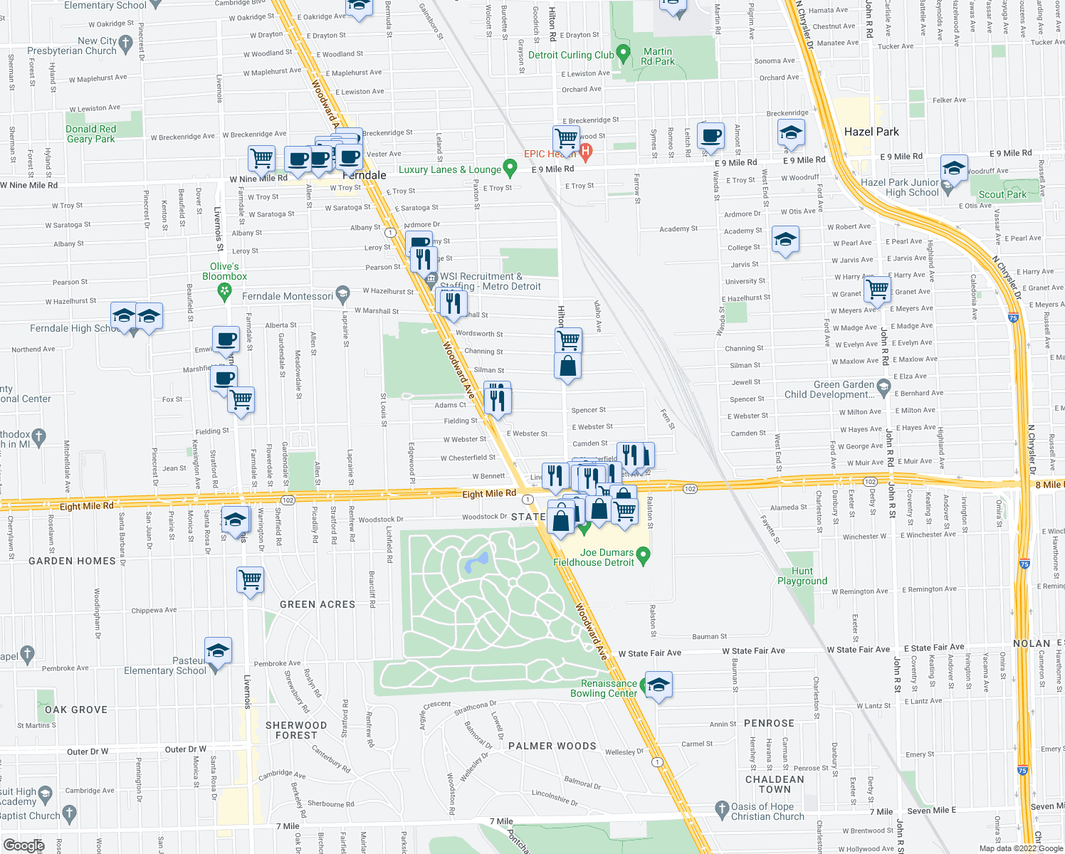 map of restaurants, bars, coffee shops, grocery stores, and more near 261 E Webster St in Ferndale