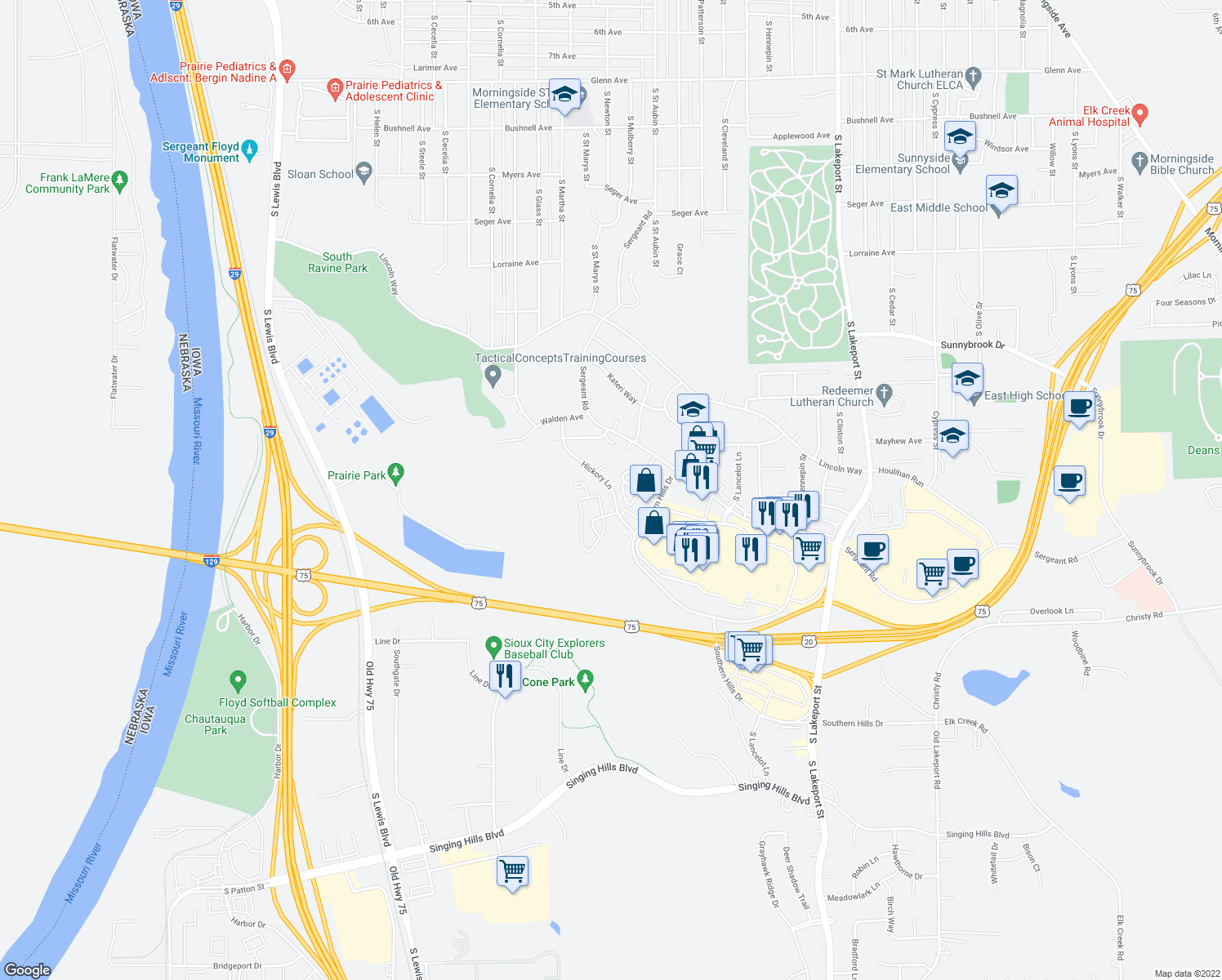 map of restaurants, bars, coffee shops, grocery stores, and more near 4204 Hickory Lane in Sioux City