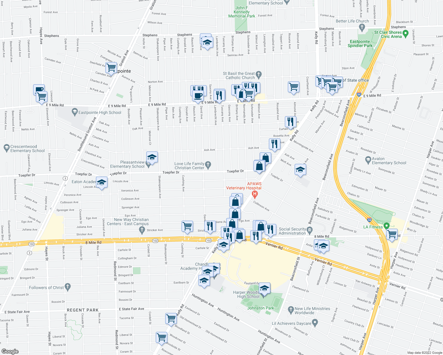 map of restaurants, bars, coffee shops, grocery stores, and more near 17427 Lincoln Avenue in Eastpointe