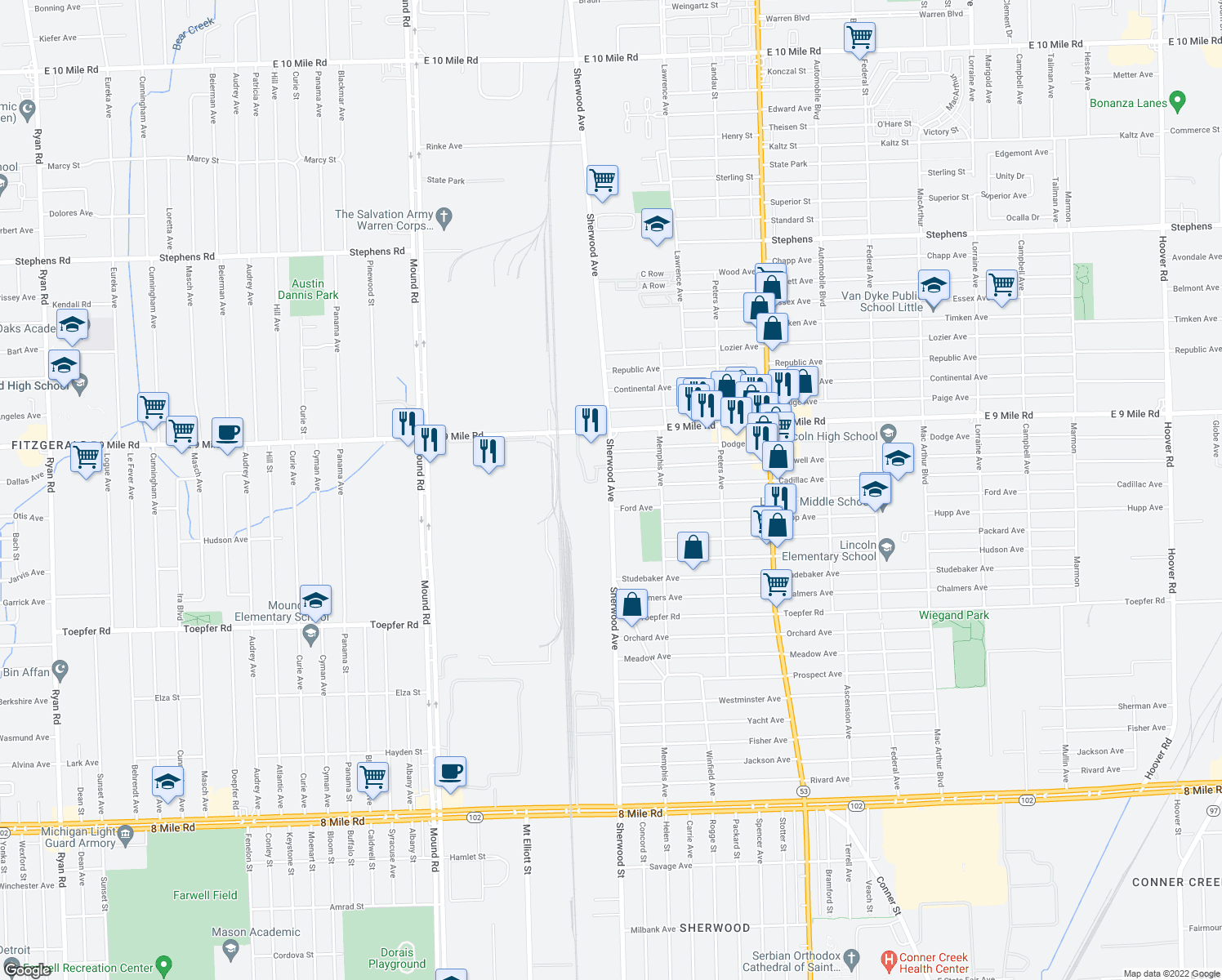 map of restaurants, bars, coffee shops, grocery stores, and more near Cadillac Avenue in Warren