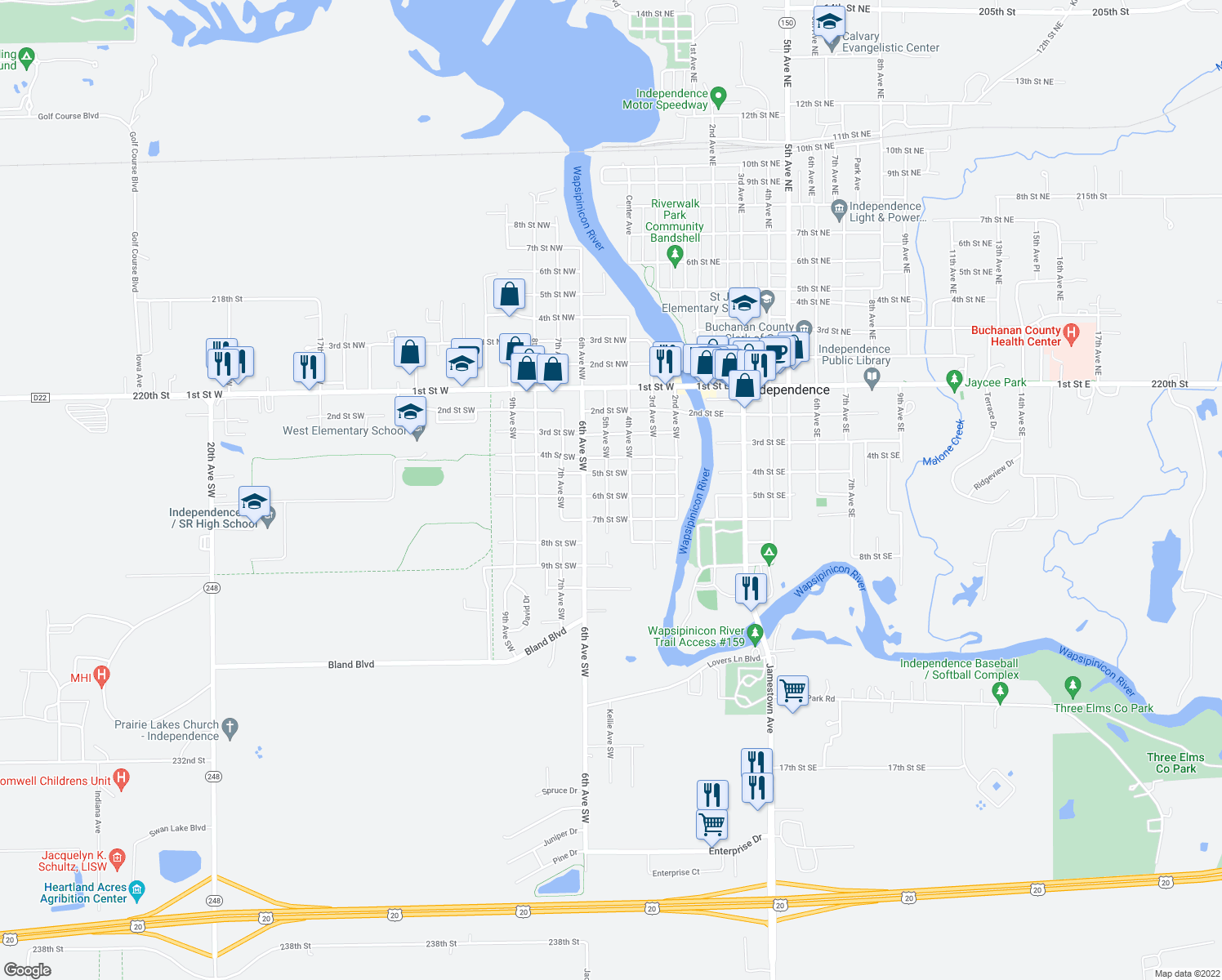 map of restaurants, bars, coffee shops, grocery stores, and more near 604 5th Avenue Southwest in Independence