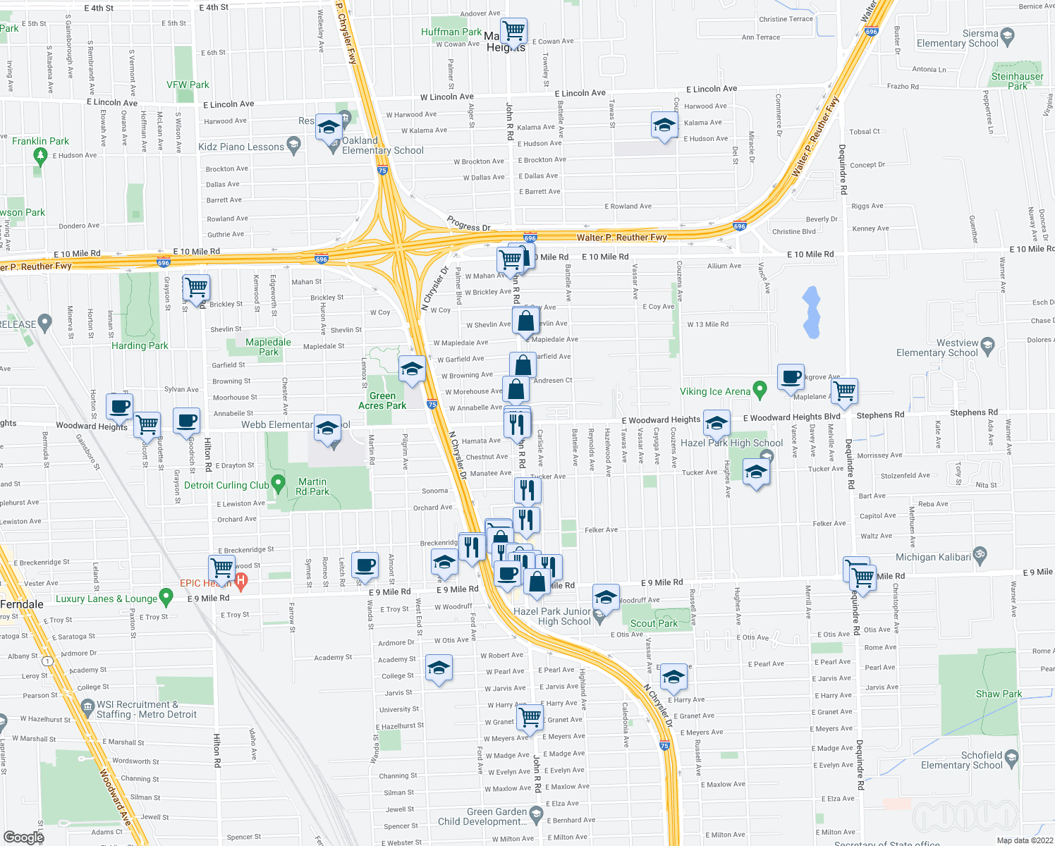 map of restaurants, bars, coffee shops, grocery stores, and more near 1-73 Hamata Avenue in Hazel Park