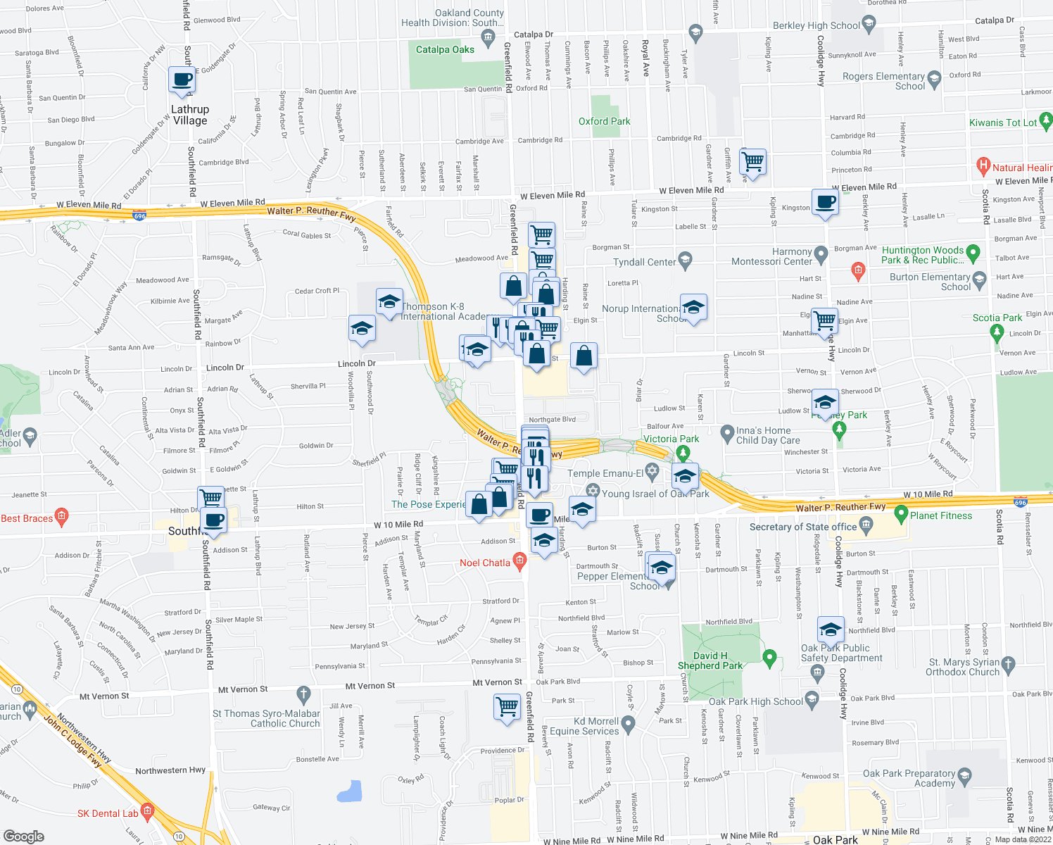 map of restaurants, bars, coffee shops, grocery stores, and more near Greenfield Road in Oak Park