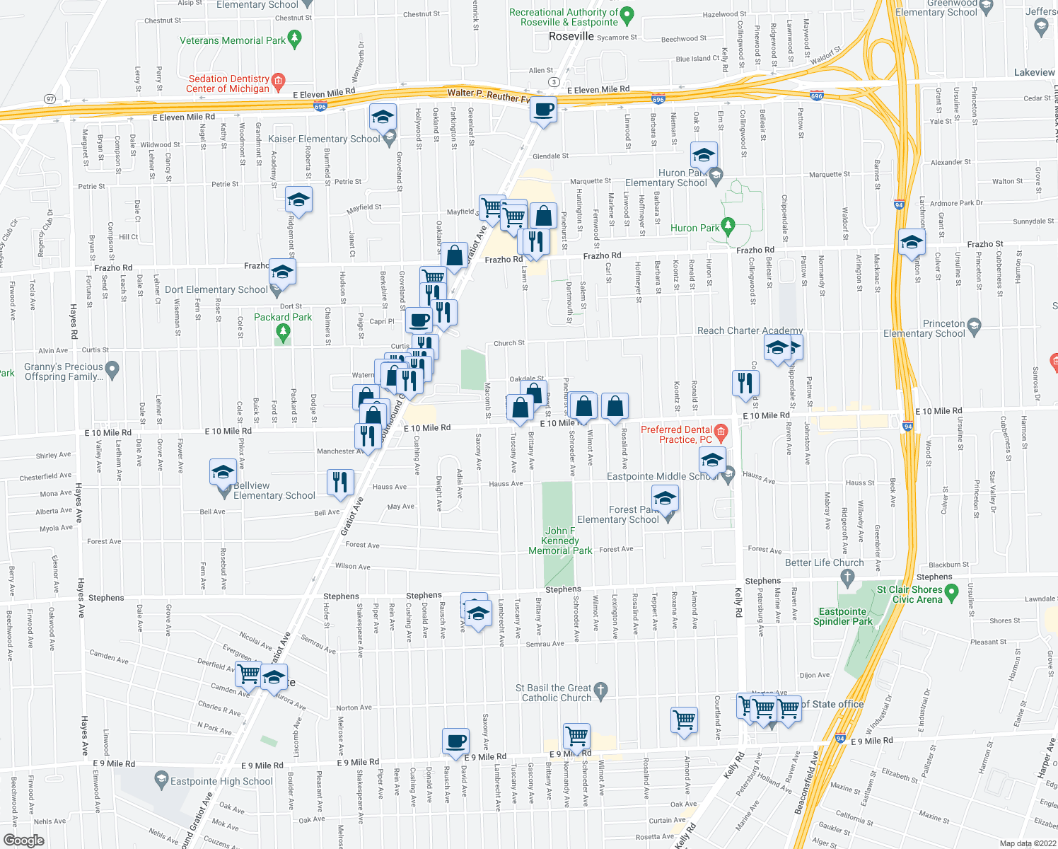 map of restaurants, bars, coffee shops, grocery stores, and more near E 10 Mile Rd & Lawn St in Roseville