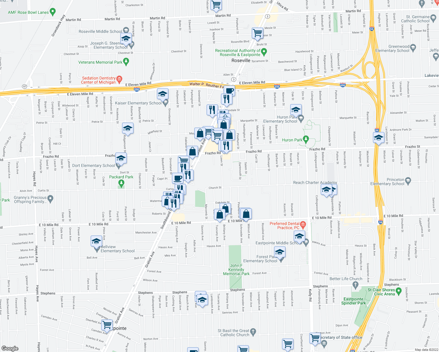 map of restaurants, bars, coffee shops, grocery stores, and more near 25635 Lawn Street in Roseville